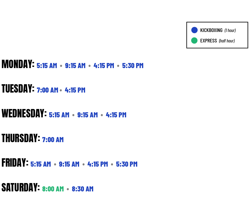 EMA Fitness Division Class Schedule